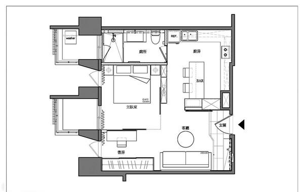 50平米精致小户型公寓软装设计11