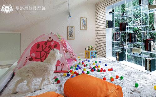 儿童房毛绒满铺地毯