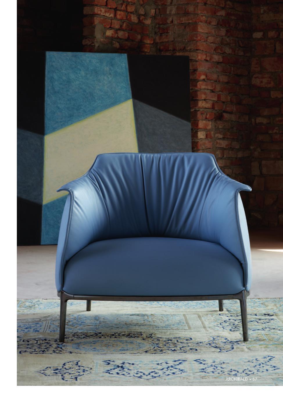 Poltrona Frau-蓝色系休闲单人沙发