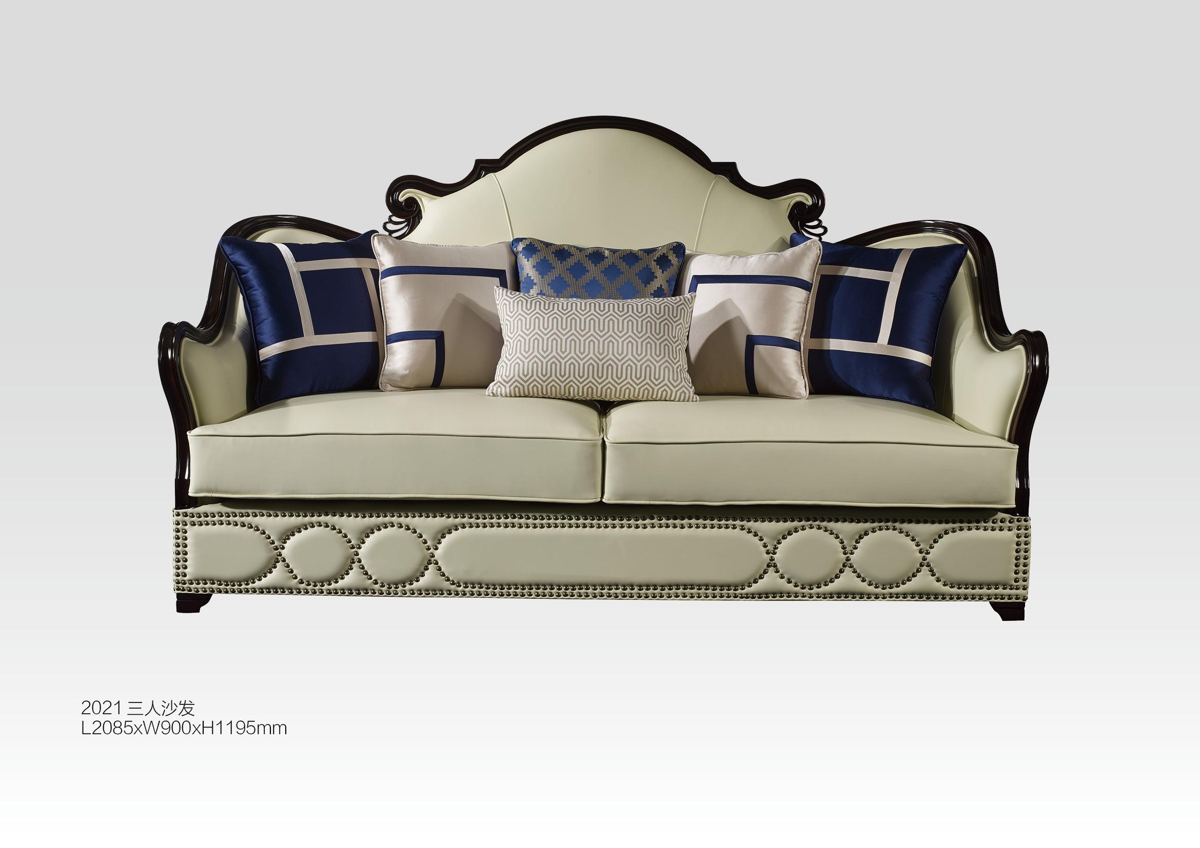欧式新古典真皮组合低调奢华实木双人沙发