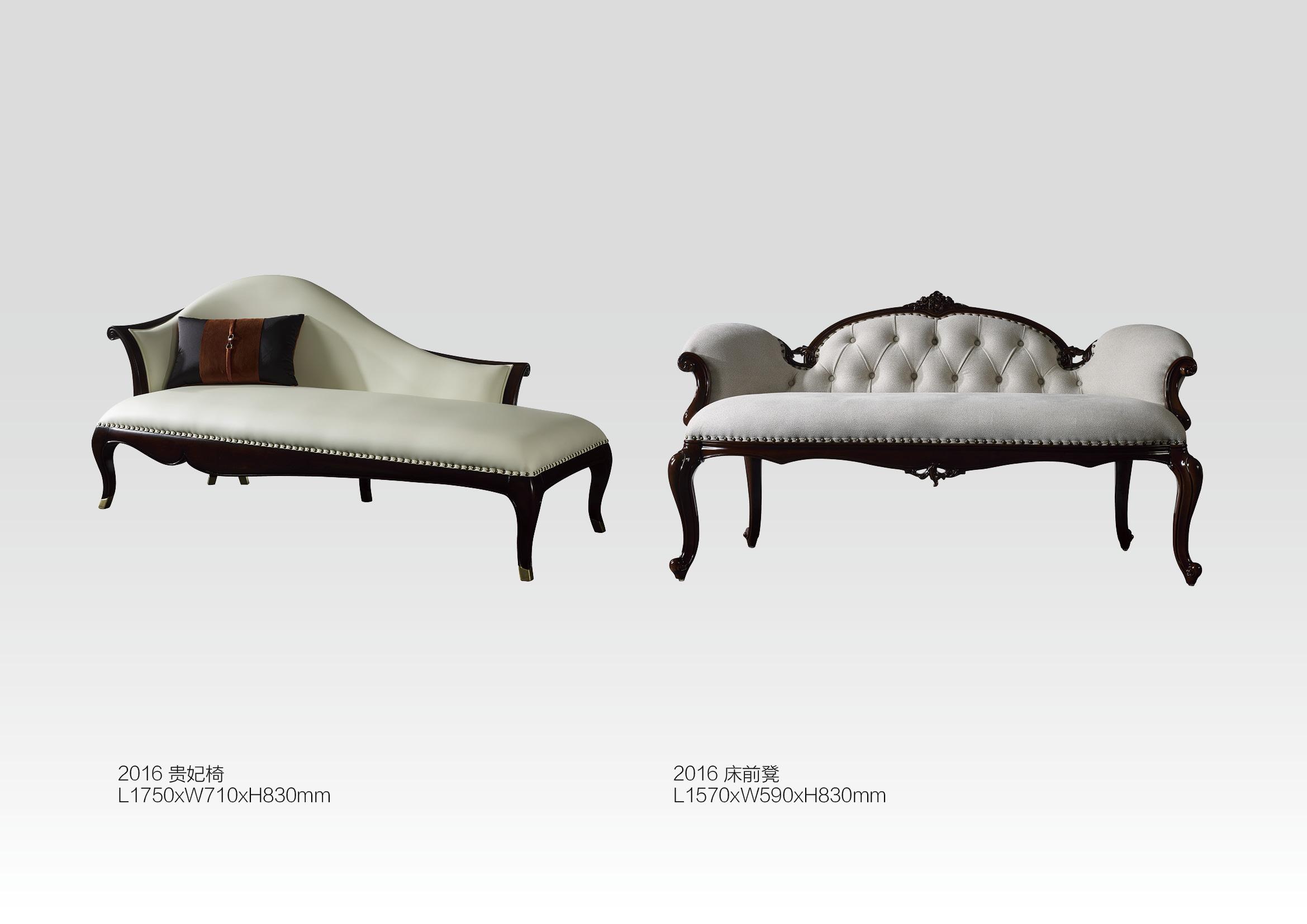奢华法式实木床真皮床欧式床别墅床贵妃椅