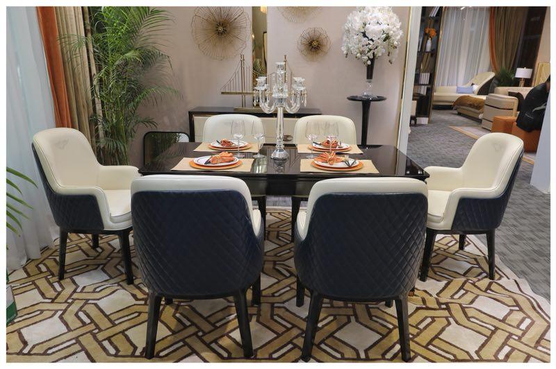 法式奢华真皮餐桌餐椅组合_曼洛尼