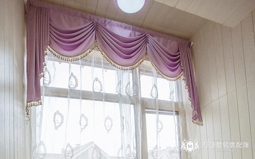 儿童房白色透明纱粉色布窗帘