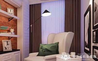 白色窗纱组合深色布艺窗帘