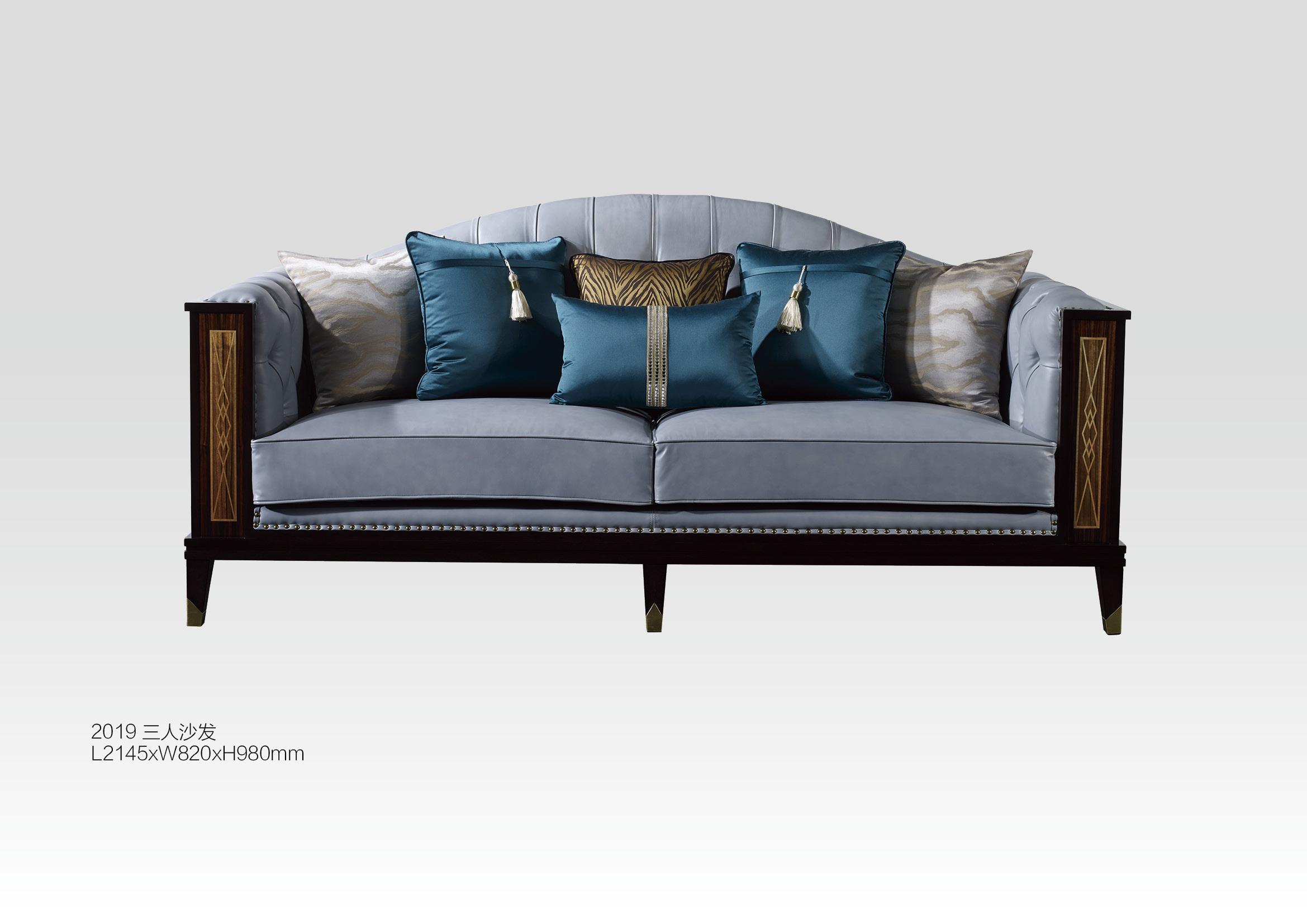 美式乡村客厅组合三人沙发布艺单人|双人现代家具