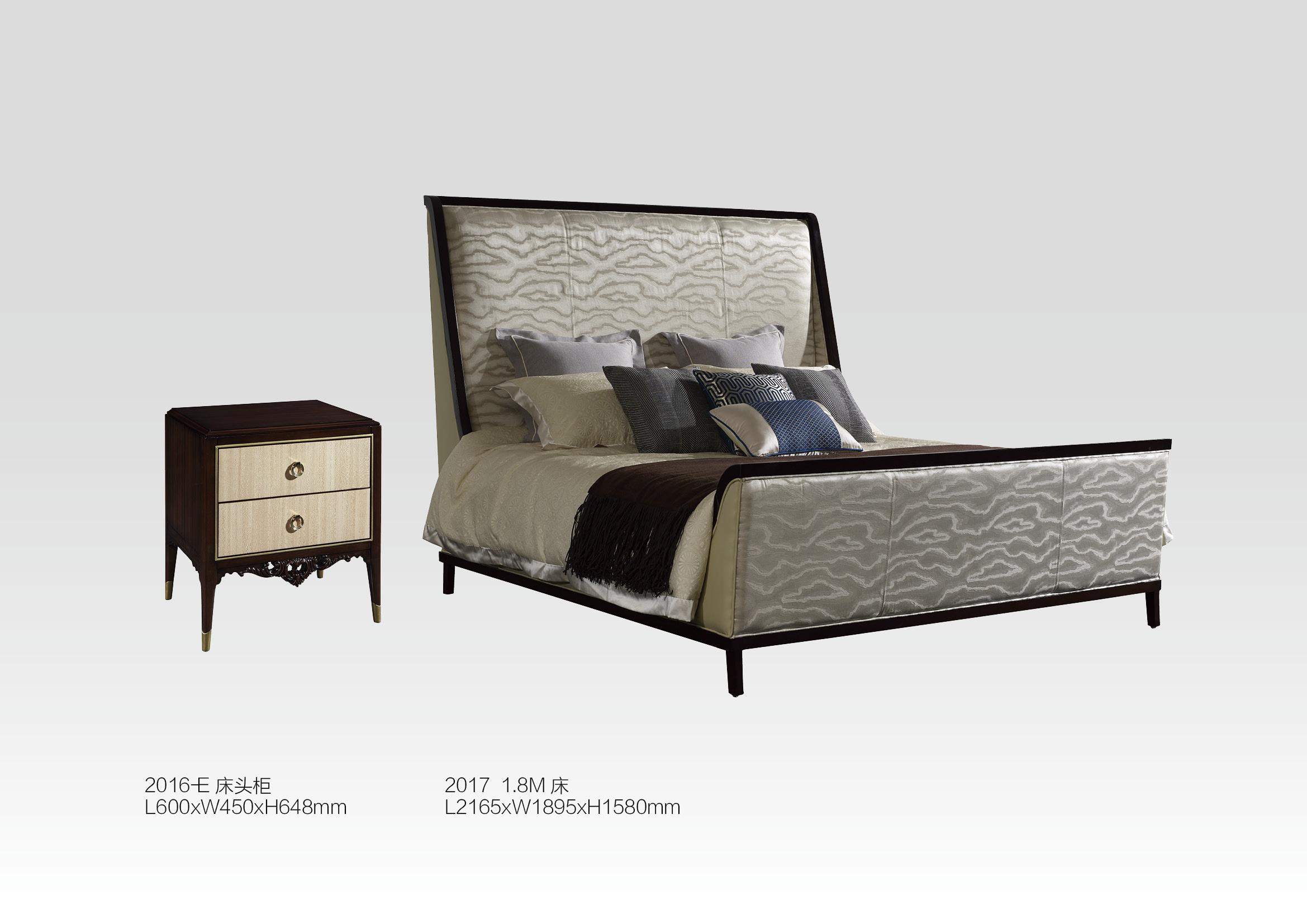 美式乡村风格全实木卧室家具床+后现代床头柜