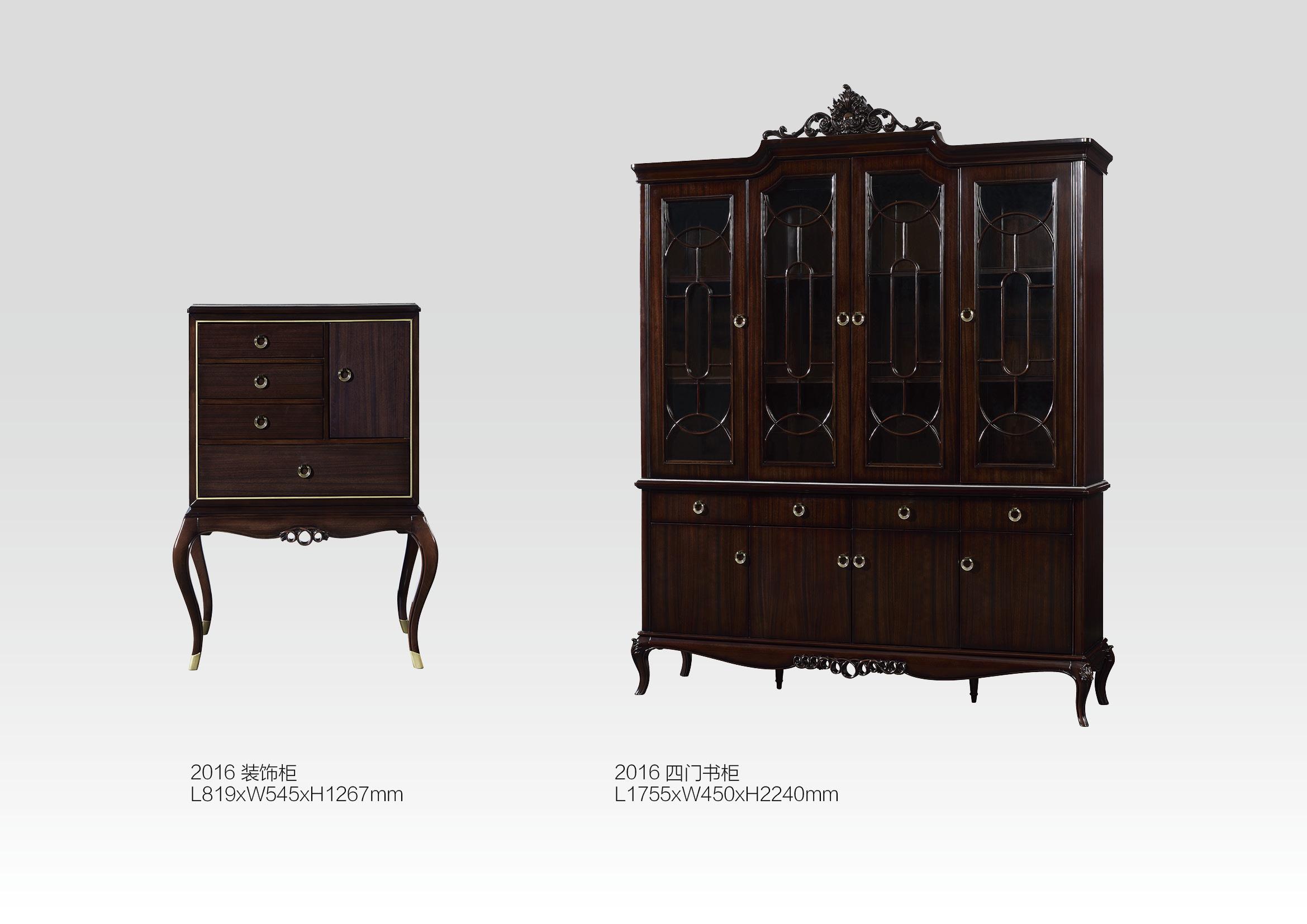新古典黑檀色实木雕花书台组合书柜、酒柜